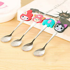 Kids Stainless Steel Spoon Cute Cartoon Silicone Handle Coffee Spoons Perfect