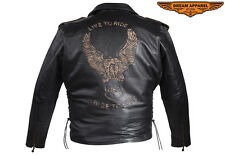MEN'S MOTORCYCLE COWHIDE LIVE TO RIDE EMBOSSED CLASSIC SIDE LACE LEATHER JACKET