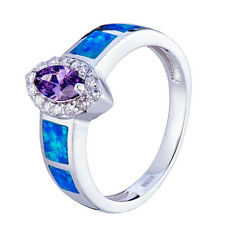 Blue Lab-Created Opal&Amethyst White CZ 925 Sterling Silver Ring Size 6 7 8 9
