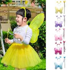 Fairy Princess Kids Costume Girls Butterfly Wings Wand Headband Halloween Party