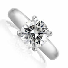 Engagement Ring Diamond 1.62 CT D Si1 Solitaire 14K White Gold Size 6 Enhanced