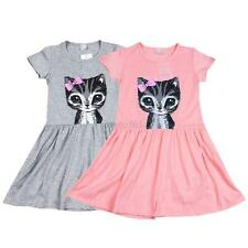 Cute Baby Kids Girl Cat Print Dress Summer Casual Party Shirt Dress Clothes
