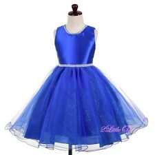 Beaded Diamante Tulle Wedding Flower Girl Party Pageant Dresses Size 3T-8 FG371