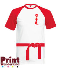 Karate Belt and Karate Text in Japanese White/Red Baseball T-Shirt