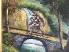 "Halloween Bigfoot Sasquatch Yeti Repurposed Thrift Store Painting 27.5"" X 23.5"""