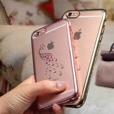 Luxury Shiny Peacock Rhinestone Silicone Case For iPhone 6 6S Soft Cases Hots 1x