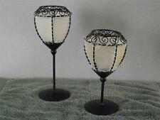 Candle Holder Bronze Rubbed Oil Metal Tea/Votive Lantern Style Opaque Shades {2}