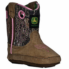 Johnny Popper Crib Boys Camo Leather Broad Square Toe Pull-On Cowboy Boots