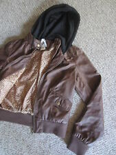 NWT ASHLEY FAUX LEATHER HOODED BROWN BOMBER JACKET WOMENS JRS L CHEETAH LINED
