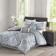 Beautiful Blue Black Grey Paisley Diamond Comforter Cal King Queen 7 pcs Set New