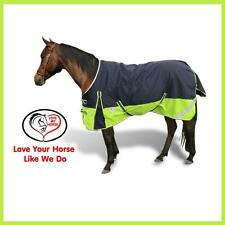 LMHORSE 600D 300g 5'3 - 6'6 Reflective Winter Turnout Rug Waterproof Navy Lime