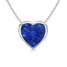 "Natural Blue Sapphire Solitaire Love Hearts Pendant Necklace with 18"" chain"