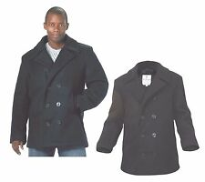 Pea Coat Wool US Navy Type MENS COAT Black  ALL SIZES FROM XS TO 5XL