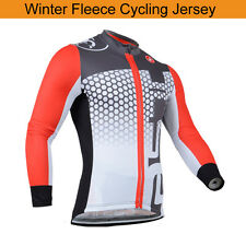 Mens Cycling Jersey Full Sleeves Cold Wear Thermal Fleece Bike Top Racing Shirt
