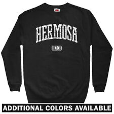 Hermosa Beach California Men's Sweatshirt - Crewneck S-3X - Gift Surf Sun Fun CA