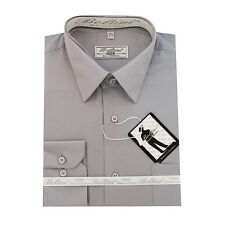 Solid Mens Dress Shirt French Convertible Cuff Boltini Italy - Gray