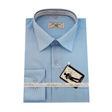 Solid Mens Dress Shirt French Convertible Cuff Boltini Italy - Light Blue