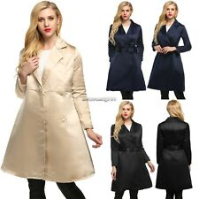 Long Swing Notched Collar Trench Coat with Belt Womens High Waist Autumn NC89