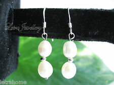 925 Stamped Silver Double Drop Real Cultured Freshwater Pearl Earrings Gift