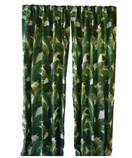 Tropical Green Palm Indoor Outdoor Drapery Curtain Panel Rod Pocket, Choose Size