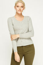 Women Ladies Fine Knit Button Cardigan Round Neck & V Neck Long Sleeve Tops