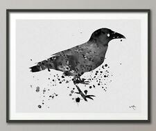 Crow Raven Edgar Allen Poe Nevermore Watercolor Painting Print Wall Decor Art