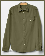 GAP Mens Lived in Modern Poplin Casual Shirt GREEN XL New FREE FAST SHIPPING