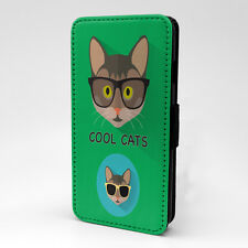 Green Cool Cat Print Design Flip Case Cover For Apple iPhone - P98