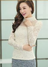 Women's Stand Pearl Collar Lace Crochet Blouses Shirts Long Sleeve Tops