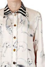 CELINE New Woman Beige Furetto Print Silk Blouse Made in France NWT