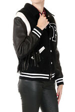 FILLES A PAPA Woman Black Bomber Jacket with Fringes New with tags and original