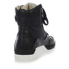 DOLCE&GABBANA New Men Black leather high Sneakers Shoes Made in Italy