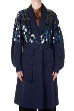 DRIES VAN NOTEN New Woman blue Cotton silk blend coat paillettes NWT