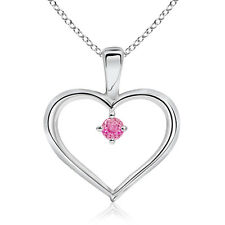 "Solitaire Round Natural Pink Sapphire Heart Pendant Necklace 18"" Chain Gold"