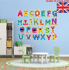 Monster Alphabet Nursery Wall Sticker REPOSITIONABLE Fabric REMOVABLE Vinyl UK