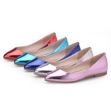 Women's Slip On Patent Leather Flat Shoes Casual Pointed Toe Ballet Loafer Shoes