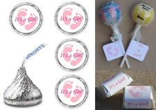ITS A GIRL PINK FOOTPRINTS BABY SHOWER PARTY LABELS WRAPPERS CANDY FAVORS DECALS