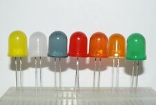 Diffused LEDs 10mm Red, Blue, White, Green, Yellow, Amber, Orange - UK Seller