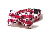 Kitten/Cat/Dog Collar Ants on Red Checkered with Matching Bow by Dog Park Avenue