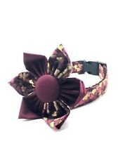 Kitten Cat Dog Collar Autumn Leaf Design Flower Bow Handmade by Dog Park Avenue