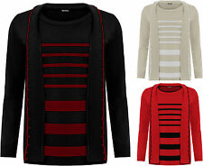 Womens Plus Knitted Cardigan Jumper Set Ladies Striped Insert Long Sleeve