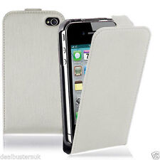 New Apple iPhone 5 5S White Leather Flip Case With Screen Protector
