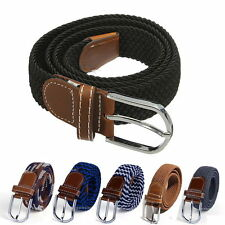 Mens Leather Braided Elastic Stretch Cross Buckle Casual Golf Belt Waistband New