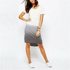 Summer Cotton Dress Tee Shirt Dress Casual Loose Dovetail Printed Party Dresses