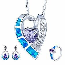 925 Sterling Silver Blue Fire Opal&CZ Necklace Pendant&Earrings&Ring Jewelry Set