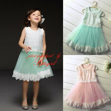 Baby Girl Lace Party Dress Kids Summer Tulle Floral Princess Wedding Christening