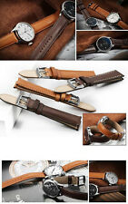 18-22mm Genuine France Calf Leather Watch Band Strap Stainless Steel Pin buckle