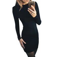 Autumn Dress Solid Color Hip Dress Ukraine Casual Long-sleeved Club Party Dress