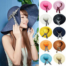 Hot Fashion Women Beach Derby Cap Wide Brim Floppy Fold Bow Candy Sun Straw Hat