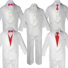 Baby Teen White Satin Shawl Lapel Suits Tuxedo RED HOT Satin Bow Necktie Vest